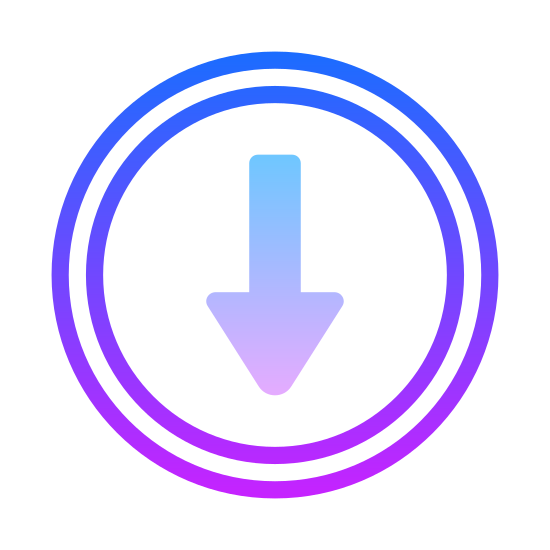 Scroll Down icon. The icon is shaped like a full circle. At the center of the circle is a arrow. The arrow is aiming downwards so the tail of it is facing the top of the circle and the arrow is facing the bottom of it.