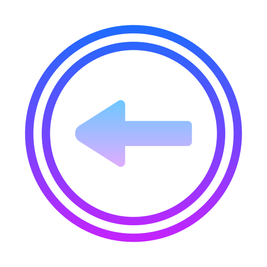 Back Arrow icon. This is a picture of a circle. inside the girl is an arrow which is pointing to the circle's left side. the arrow has three lines altogether that make it up
