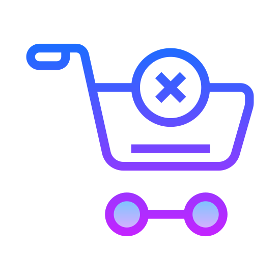 Vaciar carro icon. An empty shopping cart viewed from the side. We can't see anything in the basket or underneath, and there's a large X on the side to inform us that it is indeed empty.