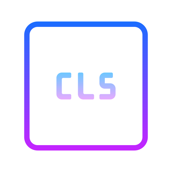 CLS icon. It is an icon for CLS. The capitol letters CLS are enclosed inside the middle of the box. The box is a four sided outline. It is a simple design.