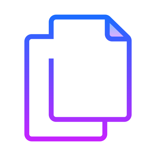 Copy icon. It's two folders, one slightly indented and they're standing perpendicular to each other. They are both rectangles, with slight triangular curves in the top right as if you're folding a piece of paper. The purpose of it is to copy anything and make a second copy of it. They both are the same size, height, and would stand up next to each other identically.