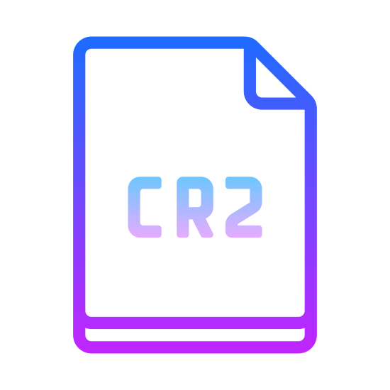 CR2 icon. The icon for CR2 is shown as a piece of paper. The paper is rectangular in nature, and its top right corner is folded over, so that you can see a small triangle representing the fold. In the center of the paper is written CR2.