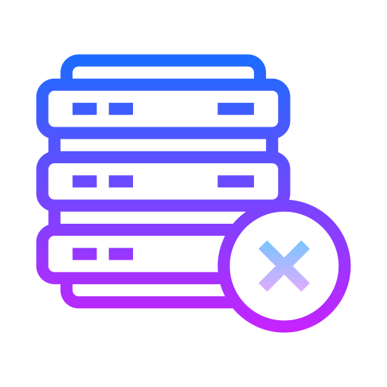 Delete Database icon. It's a symbol with a small stack of coins or coin shaped objects with a minus symbol at the bottom corner. The minus symbol most likely represents a withdrawal or loss of the coins.