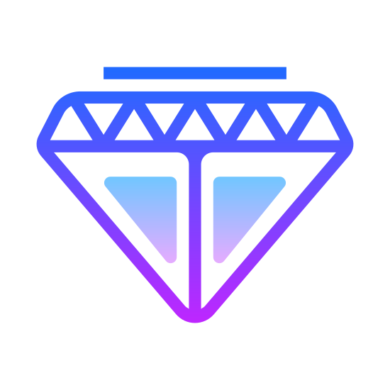 Diament icon. This icon is the standard depiction of a diamond. It is the kind you associate with jewelry, a flat top, with geometrically cut sides, and comes together in a sharp, triangular bottom.