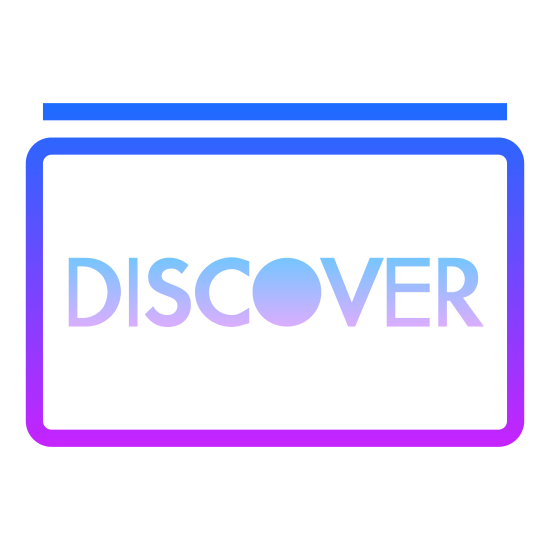"Discover icon. This is a square that has rounded corners. The middle of the square has the DISCOVER card logo. The DISCOVER card logo consist of the word ""DISCOVER"" in all capital letters, with the center of the O filled in."