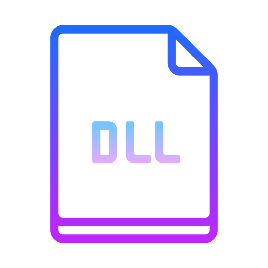 DLL icon. The shape of the DLL icon looks like a standard piece of white computer paper. The top right corner is folded down, similar to what one might do when bookmarking a novel they are reading. In the center of the rectangle are the uppercase letters DLL.