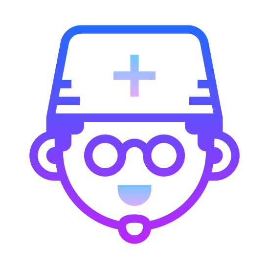 Doctor Male icon. The icon is comprised of a humanoid head, with a rounded chin and ears and short hair, wearing a nondescript hat with a small equiradial cross on it, representing the medical profession. The icon represents a male in the business of being a doctor.