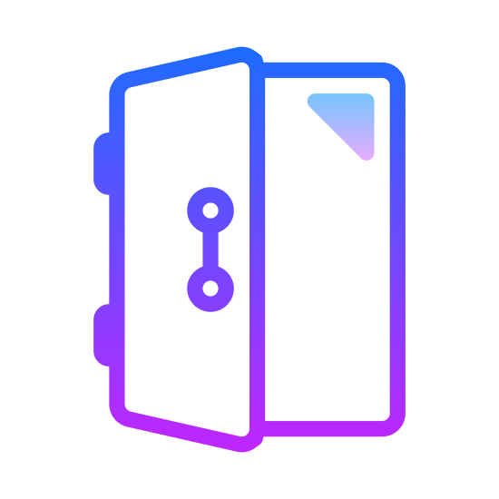 Drzwi Otwarte icon. This image has a door that is being opened. There are two rectangles offset of each other. The one of the left is the door and has a doorknob on it.