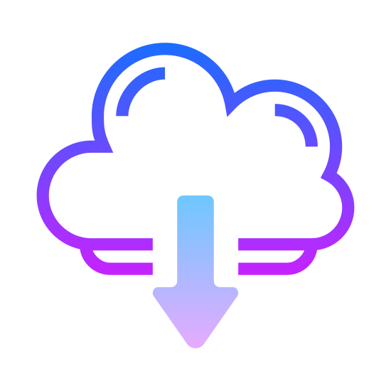 Pobierz z chmury icon. The icon is a logo of Download From Cloud. It is the shape of a cloud, with an arrow in the center pointing downward.