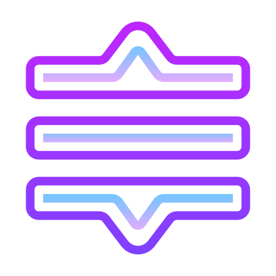 """Drag Reorder icon. The icon representing """"drag reorder"""" includes 3 parallel lined stacked on top of each other. On the top and bottom of the stack, there is one small triangle. These triangles are white in color with a black outline."""