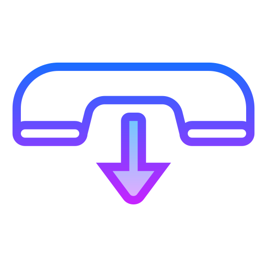 Zakończ rozmowę icon. It is an image of a land-line telephone handle from several years ago, set sideways to show its full length. Beneath the telephone handle is an arrow pointing down, which suggests placement on its cradle which would signify the end of a call.