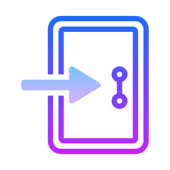 Wchodzić icon. An enter icon is a rectangle shape and between one of the sides of the rectangle there is an arrow. The arrow is going through or entering into one of the sides of the rectangle, which shows something is entering.
