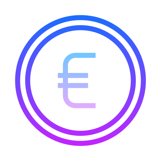 Euro icon. It's a logo for the euro. There is a circle with the sign for European money in the center. It looks like a C with two horizontal lines going through it.