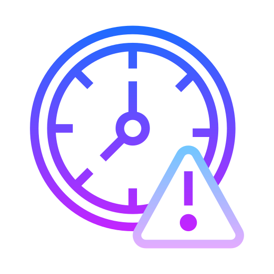 Przedawniony icon. The icon is of two shapes, one triangle shape with an exclamation point in the center of the triangle, and a circular clock shape directly behind it. The clock is positioned behind the triangle in the top left corner.
