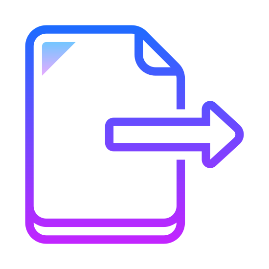 Eksport icon. The export file option, a piece of paper with an arrow drawn from the middle of it, pointing outward to the right. This is what people click on to move their file somewhere else.