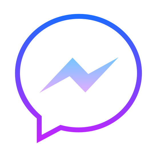 Facebook的信件 icon. The icon is a simplified rendition of the Facebook Messenger logo. The icon is a speech bubble with a lightning-shaped scribble inside, indicating a speaker to the left. It is identical to the logo used to represent Facebook Messenger, a social media application.