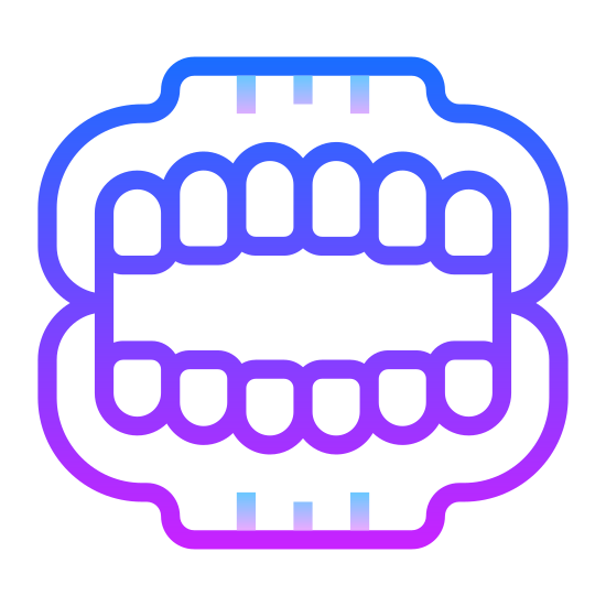 Denture icon. This is an icon for false teeth. The top and bottom portions of the teeth are not connected. The top is slightly larger than the bottom. The teeth are rounded rectangles and there are six on both the top and bottom rows.