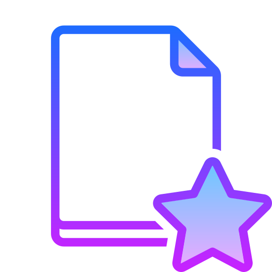 Ulubiony plik icon. The icon is a picture of a logo for Favorite File. It is in the shape of a rectangle, with the top right corner folded inward, to make it look more like a piece of paper. There is a star located at the bottom right of the 'paper'