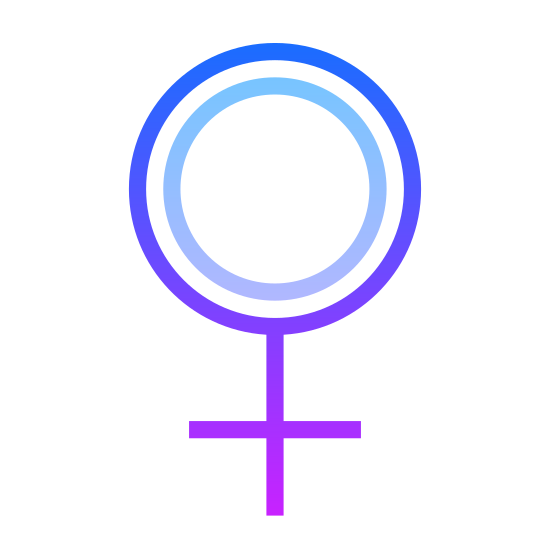 Female icon. It is the symbol for females, opposite of the male symbol. There is a large hollow circle with a cross slightly smaller in size attached directly to the center bottom.
