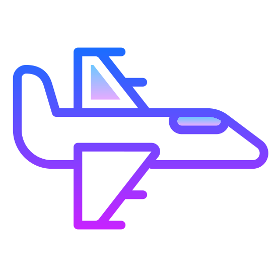 Myśliwiec icon. The icon is a picture of a jet. The icon is describing the logo fighter jet. The icon has what appears to be two guns on each wing. The jet is from birds eye view, and the nose of the jet is facing to the right.