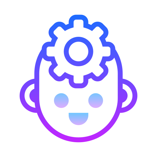 Intelligence icon. There is a 2D view of a face being viewed from the side, theres no detail other then a single cog over the area of the brain, giving the idea of complex thought or knowledge or something of those likes.