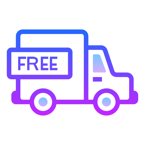 """Free Shipping icon. This is a photo of a truck. The back of the truck is a square with the word """"FREE"""" in the center of it. One circle is on the bottom of the square, and there is another circle under the front, which is square-like with one flat side on the right."""
