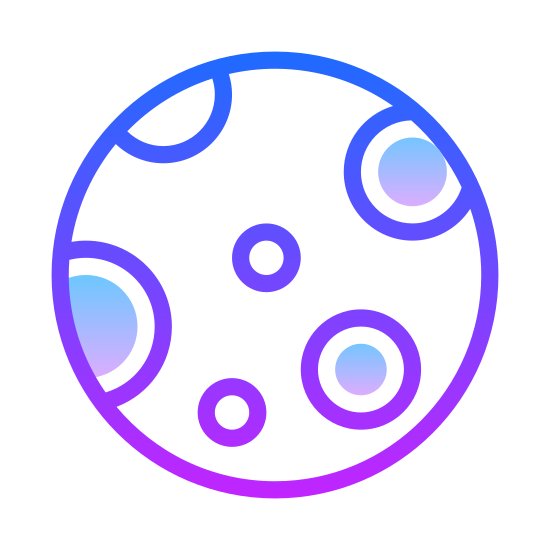 Full Moon icon. The moon fully illuminated by the light of the sun, the kind that only appears once a month. The light of the sun is reflecting so brightly that we can't even see the imperfections of the moon's surface.