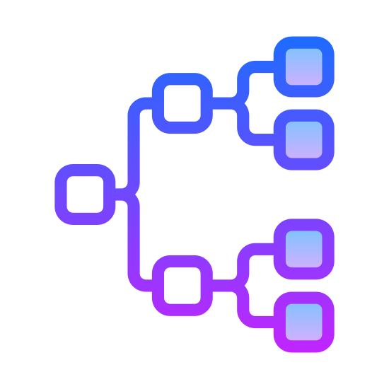Genealogy icon. There is one box and it has a line going to the right that separates and leads to two separate boxes. Then each of those two boxes have a line that divides in two to two more boxes. So there are a total of seven boxes.