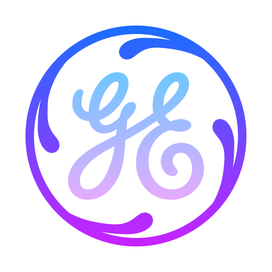 General Electrics icon. It's a logo for General Electrics reduced to the letters GE. The letters GE are enclosed in an intricate circle that cascades 4 lines towards the letters but not touching. The letters GE are in the center and in cursive.