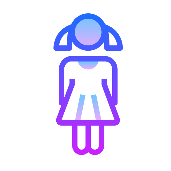 Girl icon. The.logo of the girl consists of a stick figure with two triangles coming out of the head to represent pigtails. The figure is also wearing a dress with long sleeves.
