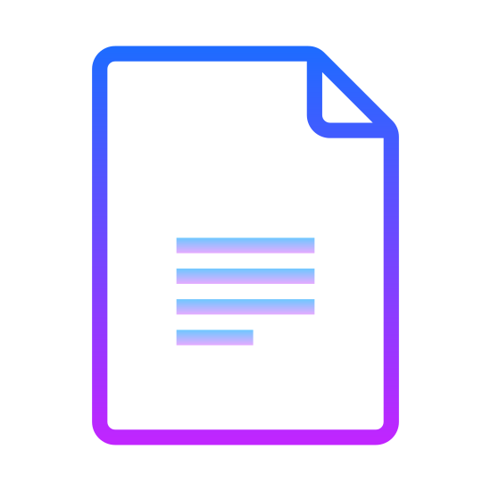 Google Docs icon. This icon of Google Docs is a piece of paper. It has rounded edges and the top right corner is folded over. On the lower half of the paper are a series of 4 horizontal lines, with the bottom most one being shorter than the others.