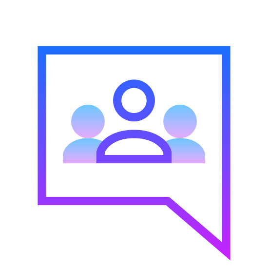 Google Groups icon. It's an icon for Google Groups. It shows a talking bubble like you would have to denote someone speaking. The bubble is square-shaped with three people depicted on the inside of it. The people have round heads that float above a half circle which faces downward.