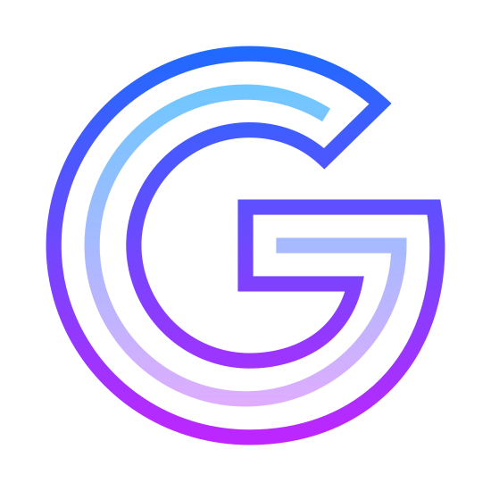 Google icon. This is the first letter of the Google logo. It is a large capital G, which is presented in a bubble letter style. It looks like a letter C, with a line going inward from the bottom most end point of the letter.