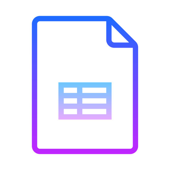 Google Sheets icon. This icon of Google Sheets is a rectangular piece of paper. The top right corner is folded over. In the center of the rectangle is a series of 6 small rectangles, stacked vertically with three to a row.