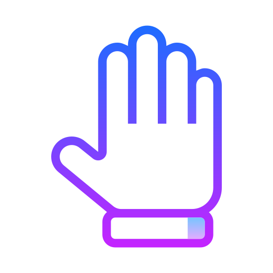 "Toute la main icon. This is a picture of a hand holding up all five fingers as if to say ""stop"". The thumb is sticking out to the side. The middle finger is the longest finger, while the pinky is the shortest."