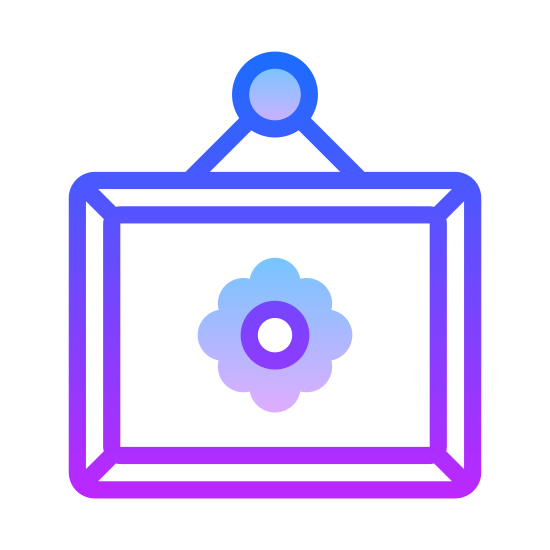 Ozdoby do domu icon. This icon represents home decorations. It is a rectangle with a frame of wavy lines around it with a small triangle on top. In the middle is a circle with petals around it to represent a flower.