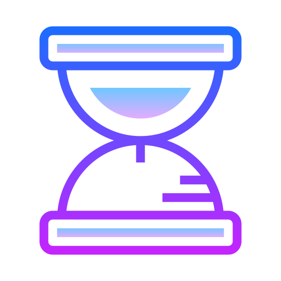 Sand Watch icon. This icon has an hourglass with the sand filling the top portion of the glass. There is no sand in the bottom.