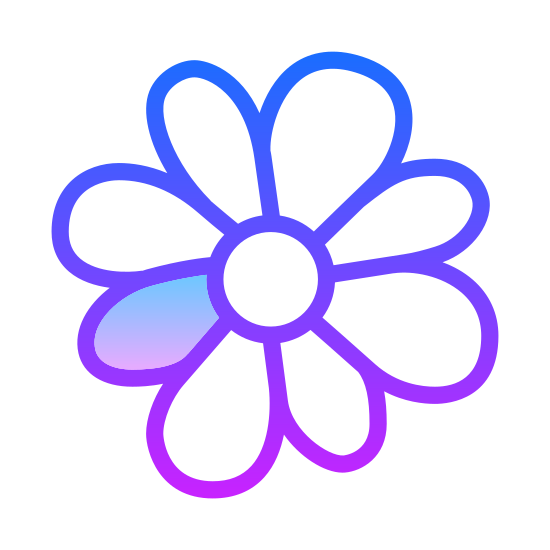 ICQ icon. This is a picture of a flower with eight petals that are uneven lengths and each is rounded. One small petal on the left side has black polka dots in it, while the others are all clear.