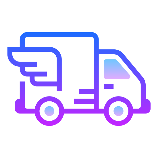 In Transit icon. It's a drawing of a moving van.  It's being viewed from one side, so there are only two wheels present.  There are five parallel horizontal lines drawn on the top of the back of the van, to simulate movement.