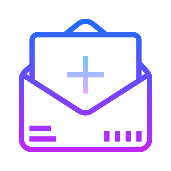 Zaproszenie icon. An invite icon consists of an envelope and a piece of paper that is coming out of the envelope. The envelope will be open so the flaps on the top will be lifted up to show the rectangular shape paper. The paper will also have information such as a plus sign on it.
