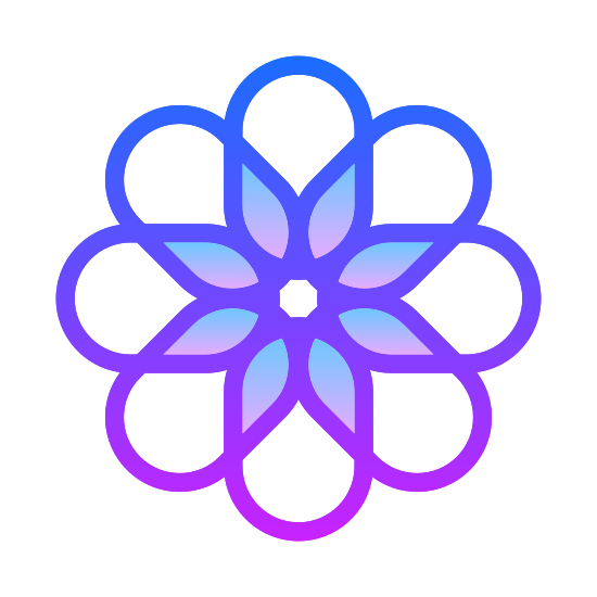 IOS Zdjęcia icon. This icon is a sunburst shaped flower blossom. It is made of connected geometric shapes. The center of the flower blossom is a circle, with diamond, or teardrop shaped petals extending from that, surrounded by arc shaped round pedals.