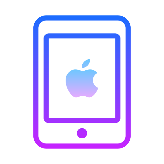 iPad Mini icon. It has an icon with a square with rounded corners, it is mini version for ipad. The company apples designed it with a dot mark on the left middle. The right side is absence of the dot mark. There is a square within the square with rounded corners.