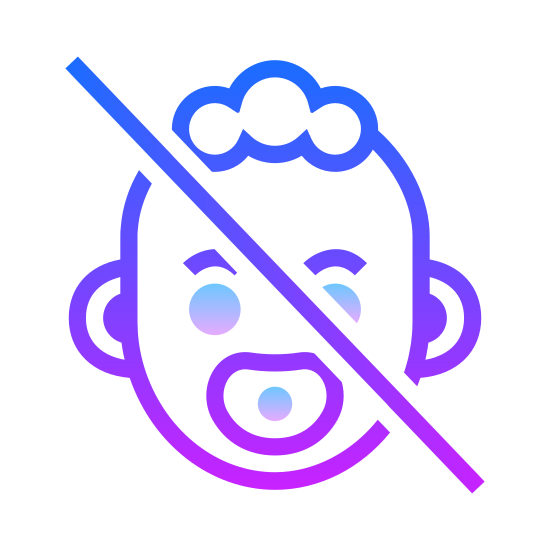 Keep Away From Children icon. This is a logo of a face of a baby. The baby has two strands of hair going opposite directions and the sitter upset. There is a straight line through the center of the babies head.