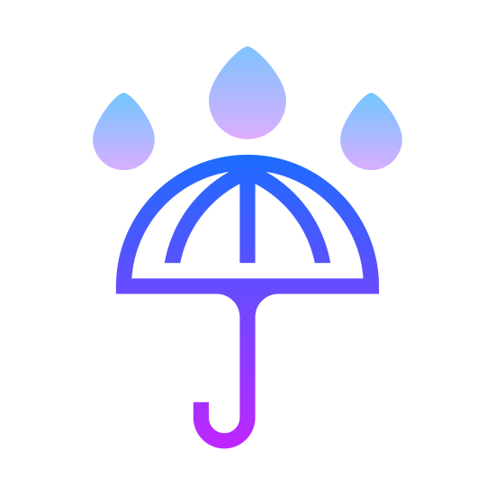 Keep Dry icon. This is an icon of an umbrella with a curved handle on the bottom.  Outside, or on top of the umbrella are water drops meant to resemble rain, symbolizing Keep Dry.