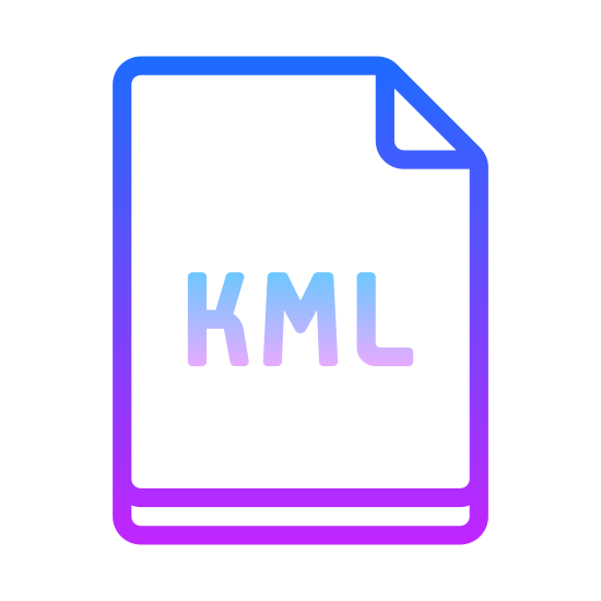 "KML icon. The icon for ""KML"" is an outline of a rectangular piece of paper. The upper-right corner of the paper is folded at a forty-five degree angle, earmarking the page. The icon contains the acronym ""KML"" in the lower center of the outlined page."