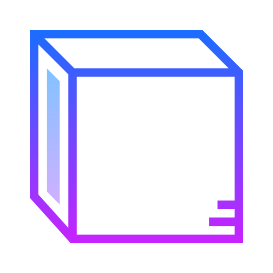 Cube icon. There is a cube with only three sides visible, the top, front, and left side. On the left side of the cube there is a dotted design while the rest of the faces are just blank.