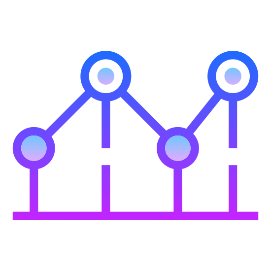 Wykres liniowy icon. This icon is made up of various lines connected to each other with dots, just like a connect the dots game. One line runs above the other in a horizontal fashion, and each line rises slowly upward just like a graph showing a positive trend.