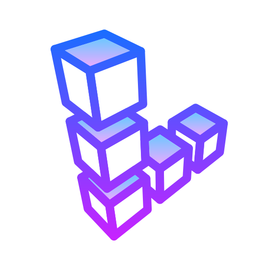 Linode icon. This is an image of a set of cubes that are shaped like the capital letter L in a slanted shaped.  There are five cubes altogether that make up the L like shape.