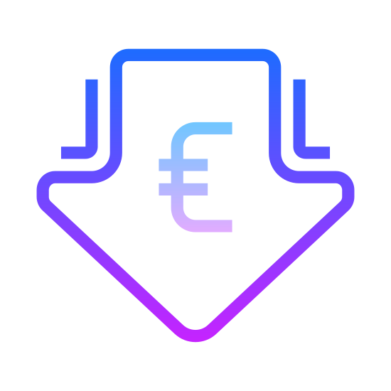 """Low Price Euro icon. This icon has the outline of an arrow pointing downwards. Inside of the arrow is the symbol for the Euro currency. It is the letter """"C"""" with two horizontal lines drawn through the middle of it."""
