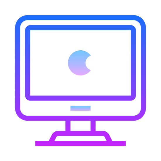 Mac客户端 icon. The mac client icon consists of a computer monitor and in the center of the computer monitor there is an apple that looks as if someone has taken a bite off of it. Since the company Apple runs mac, they placed a bitten apple to represent their company.